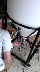 Head brewer Will assembling a new fermeter at Burnt Hickory Brewery.