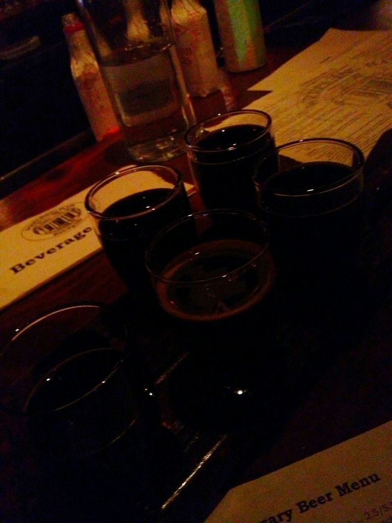 Flight of Five Russian Imperial Stouts at the Wrecking Bar.